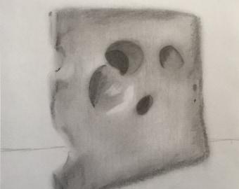 Jalsberg Cheese Pencil Drawing Print