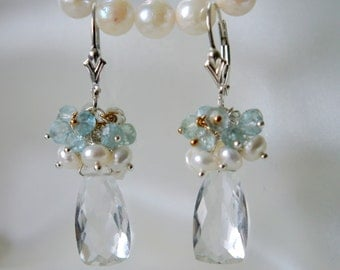 Quartz rock crystal aquamarine gemstone earrings rock crystal aquamarine earrings