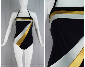 Vintage Womens 1970s Sea Fashions One Piece Black Swimsuit with Silver and Gold Metallic Stripes | Size S/M