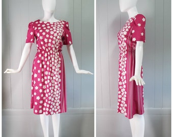 SALE! 50% OFF   Vintage Womens 1970s Sears Pink and White Floral and Stripes Print Short Sleeve Secretary Dress   Size S/M