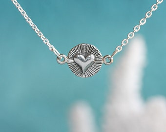 Radiant Heart.....Delicate Charm, Layering Necklace