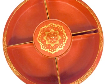 Antique Metal Serving Tray with Removable Trays / Rustic Orange