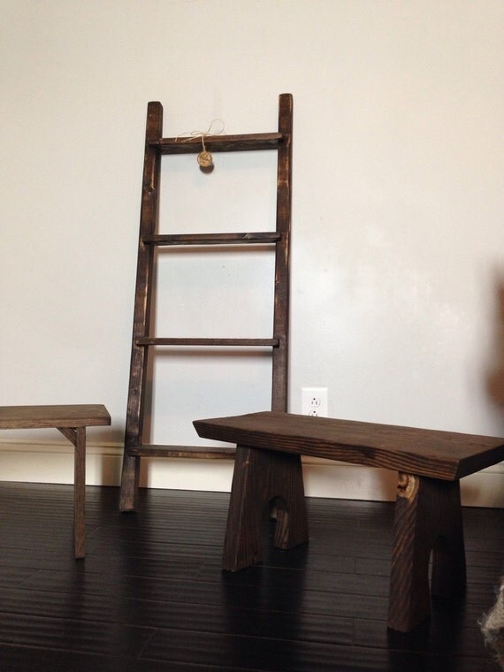 4ft rustic blanket ladder shelf 48 bookshelf shelving. Black Bedroom Furniture Sets. Home Design Ideas
