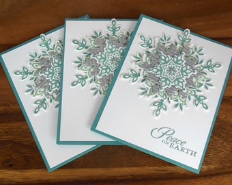 Set of Three Christmas Cards - Hand Stamped Snowflake Cards - Christmas Snowflake Cards - Homemade Xmas Cards - Sparkly Snowflake Cards
