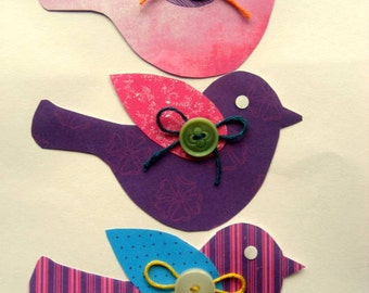 Handmade Paper birds Florida 3pk