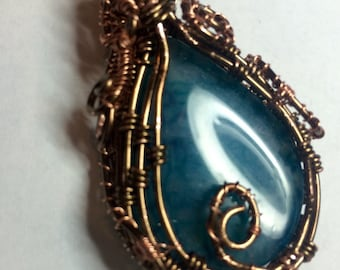 Bronze wrapped dyed agate with handmade chain