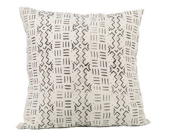 White and black and Authentic Mud Cloth Pillow Cover