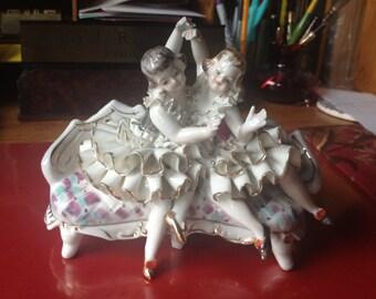 Ballerinas girls on sofa Wales figurine