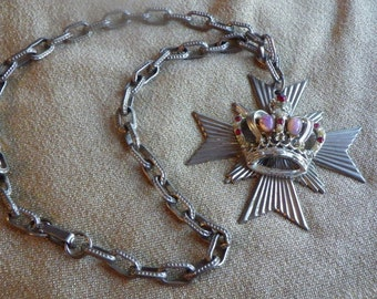 Maltese cross with crown necklace