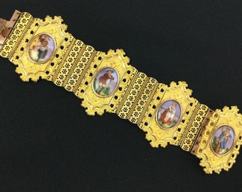 Georgian Bracelet.  Romantic Porcelain Portraits on Pinchbeck. C. 1820