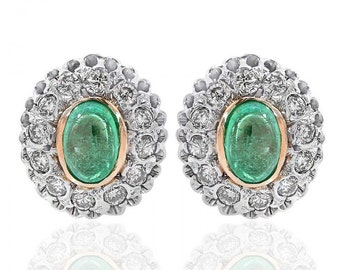 1.00 Carat Emerald and Diamond Framed Stud Earrings 14K Two Tone Gold