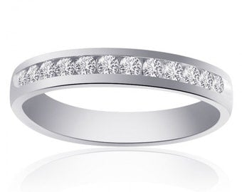 0.60 Carat Round Cut Brilliant Diamond Wedding Band 14K White Gold