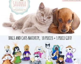 Handmade Nativity Set Dogs and Cats mixed 11 pzas