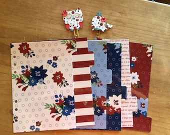 Fourth of July red white and blue planner dividers / personal planner / A5 planner / planner supplies / planner accessories / dashboard