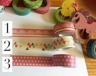 Multicolored washi tape. One 24inch sample