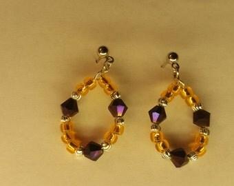 Clemson Tiger inspired dangling earrings