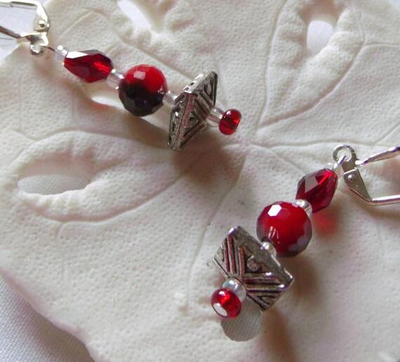 garnet red crystal earrings, red holiday jewelry. stamped silver glass earrings, festive earrings, stocking stuffer, unique earrings, gift