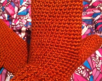 Unlined Copper Colored Mittens