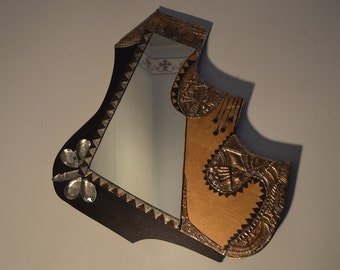 Mirror with embossed tin metal and crystal drops