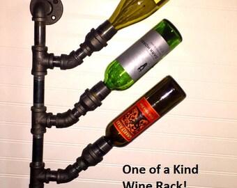 Industrial Black Pipe Wine Rack Bottle Holder Steampunk Loft Urban Decor Wall Mount Wine Tree Industrial wine rack