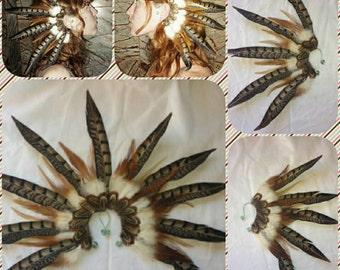 Handmade feather ear cuff