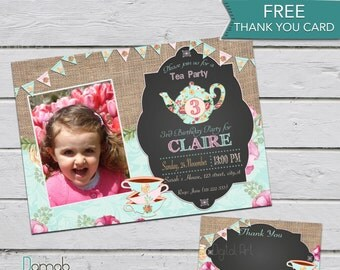 Tea for two birthday, Tea party invitation, Tea party birthday invitation, photo invitation, 2nd birthday invitation, tea for 2 invitation