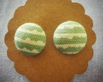 Handmade 15mm green and white button earrings