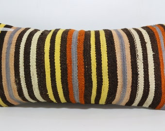 multicolour kilim pillow 12x24 boho lumbar kilim pillow striped kilim pillow floor pillow ethnic pillow boho pillow cushion cover SP3060-601