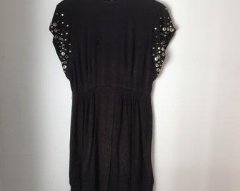 Short Sleeved Black Embellished Dress