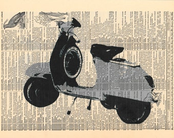 Vintage Moped Print | Dictionary Pages | Dictionary Art Print | Dictionary Art | Vintage Wall Decor | Antique Dictionary | Moped | Moped Art
