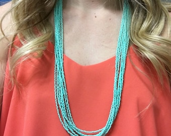 Turquoise Necklace // Statement Necklace // Turquoise Seed Bead Necklace // Seed Bead Necklace // Blue Seed Bead Necklace