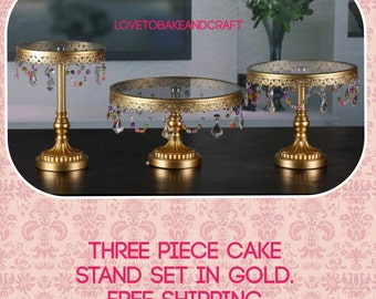 Cake stand. Beautiful 3 piece gold cake stands set 3 tier  set stackable free shipping