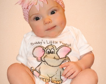 Daddy's Little Peanut Onesie that is so cute any baby girl will be irresistible in it!