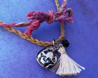 Pumpkin Tassel necklace, Halloween charm necklace, braided twine pendant, Jack O Lantern tassel charm necklace, Halloween Fall jewelry
