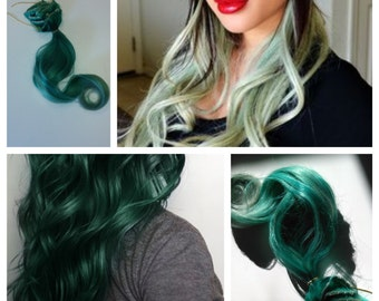 Human Hair Extension, clip in Handmade Ombre mint  Green with envy
