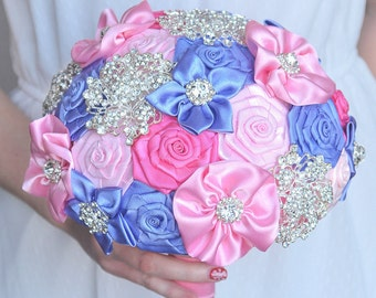 In Stock! Wedding brooch bouquet. Pink, purple. Bridal bouquet of satin ribbons. Wedding accessories.
