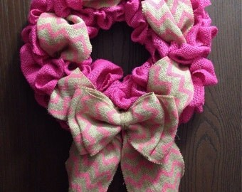 Pink Chevron Wreath