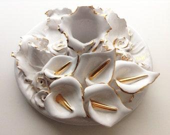Vintage floral candle holder by Vittoria Valmaggia | Sardinia ceramics | gold finishing | ceramic centerpiece | ceramic candle holder