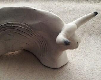 Neolithic ceramic bull | white bull | Sardinia ceramics | animal figure | bull miniature