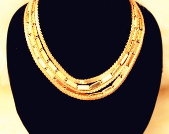 Five-Row Chain Gold Necklace
