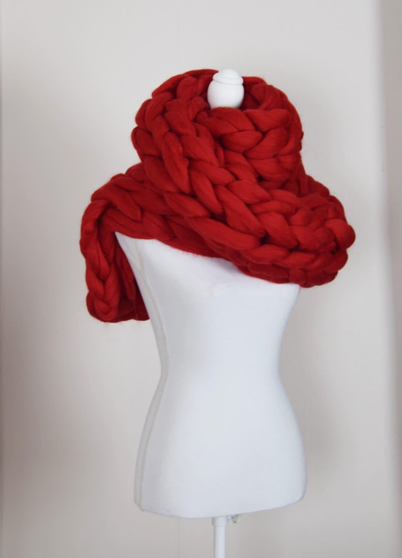 Infinity Scarf Knitting Pattern Super Bulky : Chunky knitted Scarf Giant Infinity scarf Super chunky bulky
