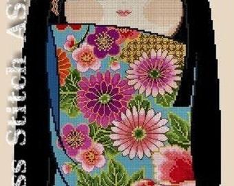 K003 Happy Kokeshi Doll NATSUKO -Cross Stitch Pdf Pattern