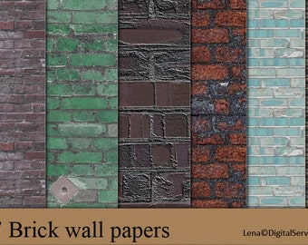 17 Brick wall papers INSTANT DOWNLOAD  digital background textures decoupage paper