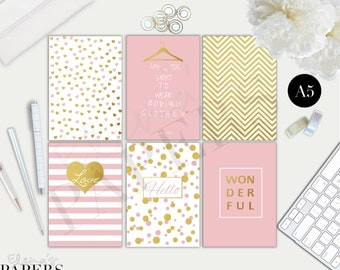 Printable A5 dividers GOLD & PINK style for your A5 planner and Franklin Covey Planner