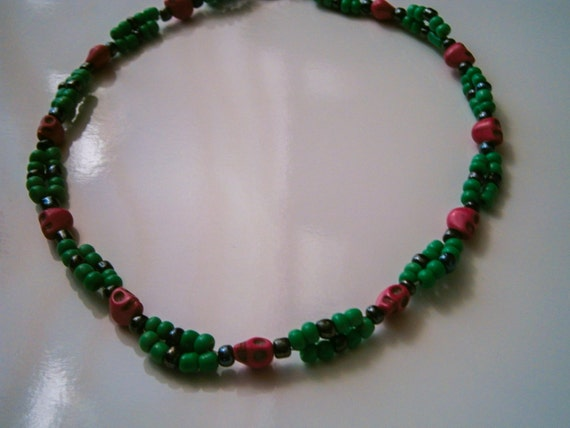Beaded Necklace: Double Stranded Beaded Necklace with Pink Skull Beads