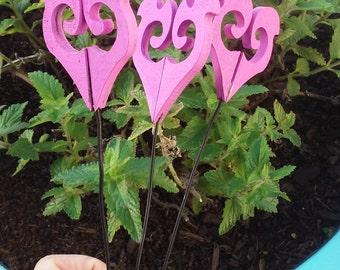 3 Heart Garden Stakes