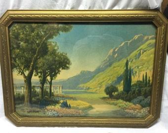 R Atkinson fox Print A perfect Day in original antique frame 23x17