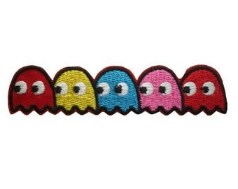 PACMAN Ghosts Iron Sew On Embroidered Patch Tshirt Transfer Motif Badge 80s 8bit