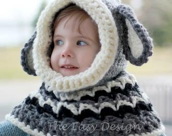 Crochet pattern, Patron de crochet – Dean Dog Hooded Cowl Hood Hat(12/18 month - Toddler - Child – Teen- Adult sizes)