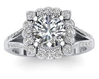 White Gold Halo Engagement Ring Beaded Halo 0.35ct Round Diamonds, for 1.0ct Round Center Semi Mount Brand New 14K Setting Only
